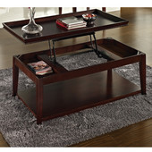 , 26'' W x  48'' D x 20''H, Clemson Lift Top Cocktail Table w/Casters in Merlot Cherry finish