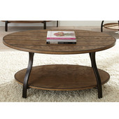 , 31'' W x  47'' D x 21''H, Denise Oval Cocktail Table in Oak finish with hand applied burnish