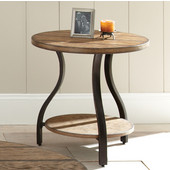 , 24'' Round, Denise End Table in Oak finish with hand applied burnish