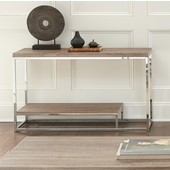 , 24''W x  24'' D x 24''H, Lucia Sofa Table in Light Driftwood Gray in Light driftwood grey and chrome
