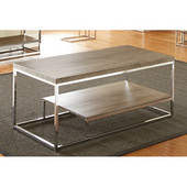 , 10''W x  18'' D x 25''H, Lucia Cocktail Table in Dark Driftwood Gray in Dark driftwood grey and chrome