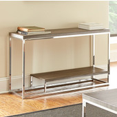 , 20''W x  20'' D x 20''H, Lucia Sofa Table in Dark Driftwood Gray in Dark driftwood grey and chrome