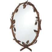 Ponderosa Oval Mirror with Hand-Painted Wrought Iron Frame