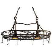 SteelWorx Vine Oval Hanging Pot Rack with Grid and 2 Downlights, Bark Finish, 36'' W x 20'' D x 16-1/2'' H
