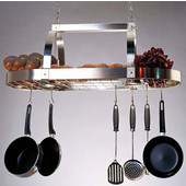 SteelWorx Contemporary Oval Hanging Pot Rack with Grid and 2 Downlights, Satin Nickel Finish, 36'' W x 20'' D x 14-1/2'' H
