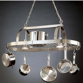SteelWorx Large Contemporary Oval Hanging Pot Rack with Grid and 2 Downlights, Satin Nickel Finish, 43-1/2''W x 20''D x 18''H
