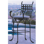 Swivel Iron Bar Stool in Bark Finish with Taupe Cushion and Arms