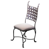 Metal Weave Chair with Bark Finish and Taupe Cushion 23''W X 42''H
