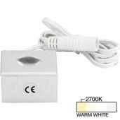 illumaLED™ Mini Square Series LED Brushed Aluminum Puck Light, Warm White 2700K, 1-1/4'' W x 1-1/4'' D x 7/8'' H