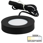 illumaLED™ Pearl Series 2-3/4'' Diameter Black Puck Light with Frosted and Diamond Lens, Daylight White 5000k, 2-3/4'' Diameter x 5/8'' H