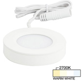 illumaLED™ Pearl Series 2-3/4'' Diameter White Puck Light with Frosted and Diamond Lens, Warm White 2700k, 2-3/4'' Diameter x 5/8'' H