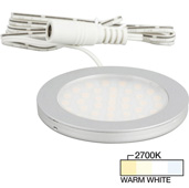Vivid Ultra Thin Series Satin Nickel Puck Light with Frosted, Light Diffusing Lens, Warm White 2700K , 2-5/8'' Diameter x 1/4'' H