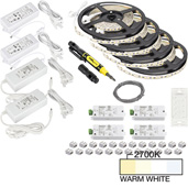 illumaLED™ Vivid Series 65' Tape Light Quattro Wireless Contractor Kit, 4-Zone, 4-Area, High Light Output, Warm White 2700K, (4) Rolls 197'' Length x 5/16''W x 1/16'' H