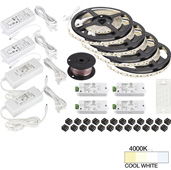 illumaLED™ Vivid Series 65' Tape Light Quattro Wireless Contractor Kit, 4-Zone, 4-Area, High Light Output, Cool White 4000K, (4) Rolls 197'' Length x 5/16''W x 1/16'' H