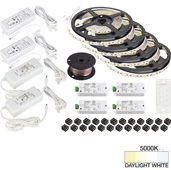illumaLED™ Vivid Series 65' Tape Light Quattro Wireless Contractor Kit, 4-Zone, 4-Area, High Light Output, Daylight White 5000K, (4) Rolls 197'' Length x 5/16''W x 1/16'' H