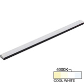 sempriaLED® SG9 Series 36'' LED Strip Light Fixture, Higher Light Output, Black Mount, Cool White 4000k, 36-1/8'' Length x 1-1/4'' W x 1/2'' H