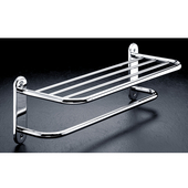 24'' Solid Brass Hotel Towel Shelf with Bar, Semi-Concealed Mount, Polished Chrome Finish