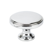 Italian Designs Collection Round Transitional Knob in Bright Chrome, 1-3/8'' Diameter x 1-1/8'' Height