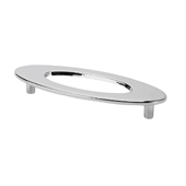 Italian Designs Collection Oval Pull with Hole in Bright Chrome, 4-3/4''W x 3/4''D x 1-3/4''H (CTC 3-3/4'')