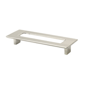 Italian Designs Collection Rectangular Pull with Hole in Polished Satin Nickel, 6''W x 1''D x 2-1/4''H or 8-1/2''H (CTC 5'')