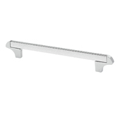 Italian Designs Collection Square Transitional Cabinet Pull in Bright Chrome, 8-1/4'' x 1-1/2''D x 1/8''H (CTC 6-5/16'')