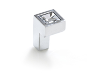 Crystal Collection Small Square Swarovski Knob in Bright Chrome, 9/16''W x 1''D x 9/16''H