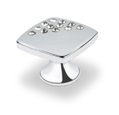 Crystal Collection Small Square Knob with Corner Crystals in Bright Chrome, 1''W x 3/4''D x 1''H