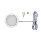 12VDC Pockit Plus LED Metal Light, Frosted, 1.5W, 5000K, White with 79'' Starter Lead & Surface Mount Ring