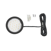 12VDC Pockit Plus LED Metal Light, Frosted, 1.5W, 3000K, Black, with 79'' Starter Lead & Surface Mount Ring