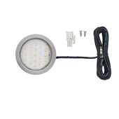 12VDC Pockit Plus LED Metal Light, Frosted, 1.5W, 3000K, Nickel, with 79'' Starter Lead & Surface Mount Ring