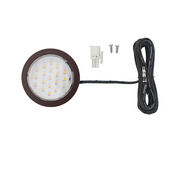 12VDC Pockit Plus LED Metal Light, Frosted, 1.5W, 5000K, Oil Rubbed Bronze with 79'' Starter Lead & Surface Mount Ring