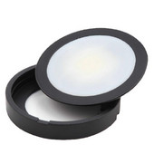 12VDC Slim Power Pockit LED Metal Light, Frosted, 3W, 3000K, Black, with 79'' Starter Lead & Surface Mount Ring