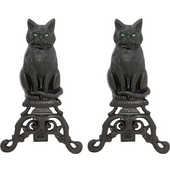 - Cast Iron Cat Andirons w/Reflective Glass Eyes, 17'' H, Black