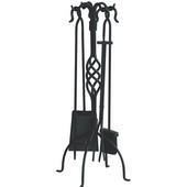- 5 Piece Black Wrought Iron Fireset with Center Weave