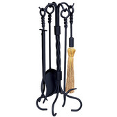 Wrought Iron 5-Piece Ring Swirl Fire Set 30'' H