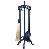 Heavy Weight Wrought Iron 5-Piece Fire Set 32'' H