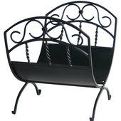 - Wrought Iron Log Rack with Scrolls, Black