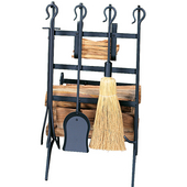 - Log & Kindling Rack with Firetools, Black