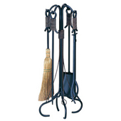 - 5 Piece Black Wrought Iron Fireset