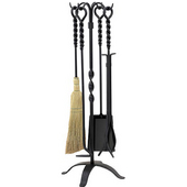 - 5 Piece Twist Black Wrought Iron Fireset, 30'' H