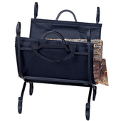 Hammered Crock Log Holder w/Canvas Carrier 21'' W x 21'' H, Black