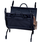 Ring Swirl Log Rack w/Canvas Carrier 21'' W x 21'' H, Black