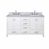 Valentino 60'' Double Sink Vanity in White with Carrara White Marble Countertop
