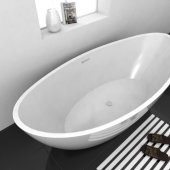 CHARM 72'' White Contemporary Oval Freestanding Acrylic Insulated Bathtub, 71-1/2'' W x 33-3/4'' D x 25-1/2'' H