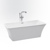 ETHER 59'' White Contemporary Rectangular Freestanding Acrylic Insulated Bathtub, 59'' W x 29-1/8'' D x 23-5/8'' H