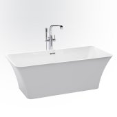 ETHER 67'' White Contemporary Rectangular Freestanding Acrylic Insulated Bathtub, 66-1/2'' W x 29-1/2'' D x 23'' H