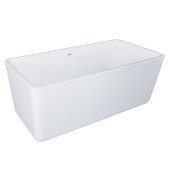 GEM 63'' White Contemporary Rectangular Freestanding Acrylic Insulated Bathtub, 63'' W x 30'' D x 23-1/4'' H