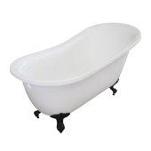 Single Slipper 55'' White Acrylic Clawfoot Tub with Black Feet, 55-1/4'' W x 27'' D x 32'' H