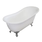 Single Slipper 55'' White Acrylic Clawfoot Tub with Brushed Nickel Feet, 55-1/4'' W x 27'' D x 32'' H