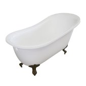 Single Slipper 55'' White Acrylic Clawfoot Tub with Bronze Feet, 55-1/4'' W x 27'' D x 32'' H